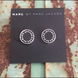 Marc By Marc Jacobs Black Logo Earrings